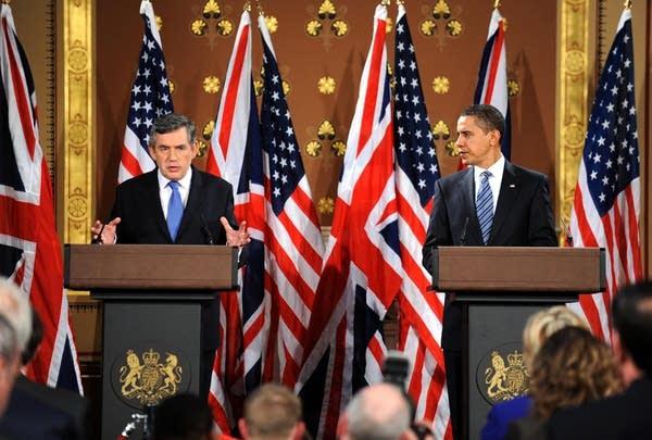 Gordon Brown & President Obama Hold Talks In Forei