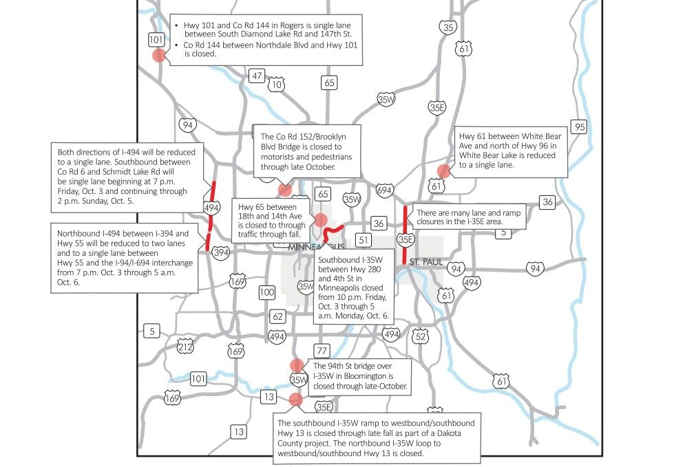 Weekend marathon closings highway work will challenge Twin Cities – Mn Dot Travel Map