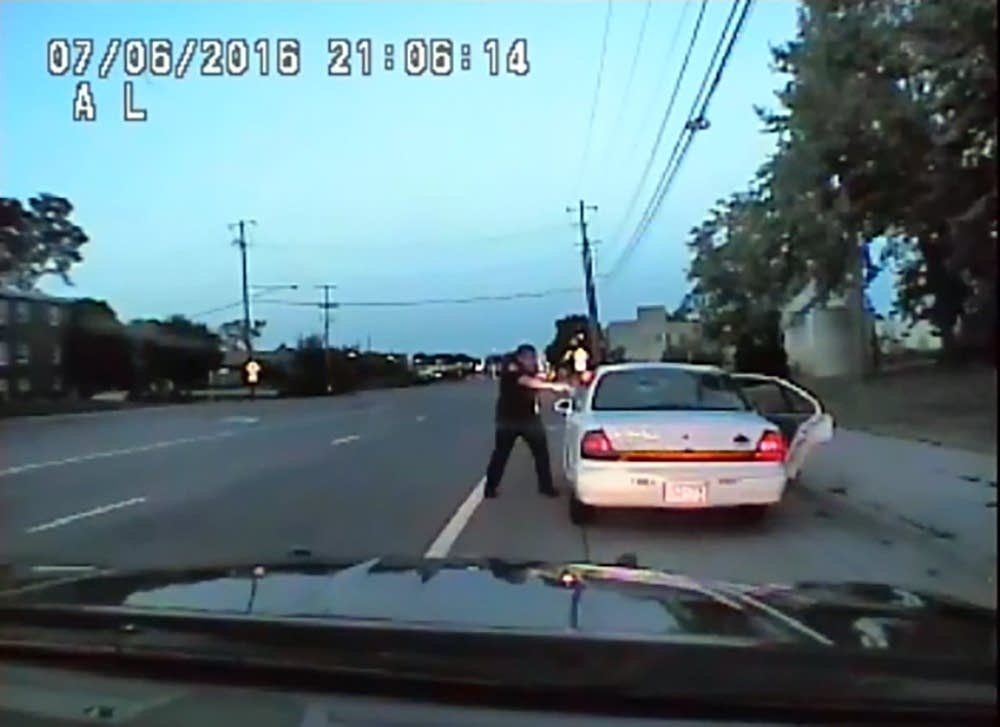 Frame grab from squad car video during shooting of Philando Castile.