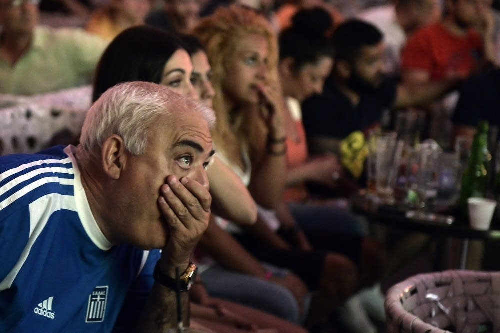 Greece's fans watch the Costa Rica vs Greece match