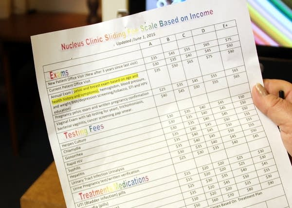 The sliding scale fee at Nucleus Clinic