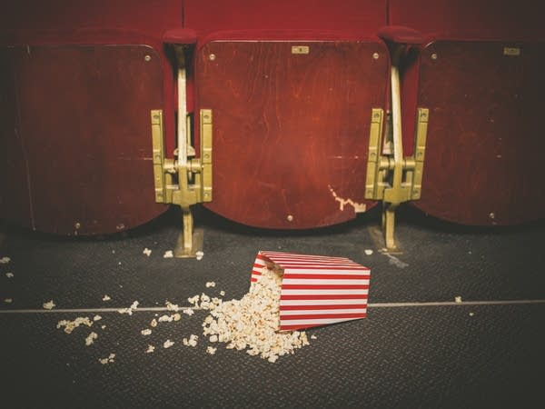 Spilled popcorn in a movie theater. Andrew's fantasy?