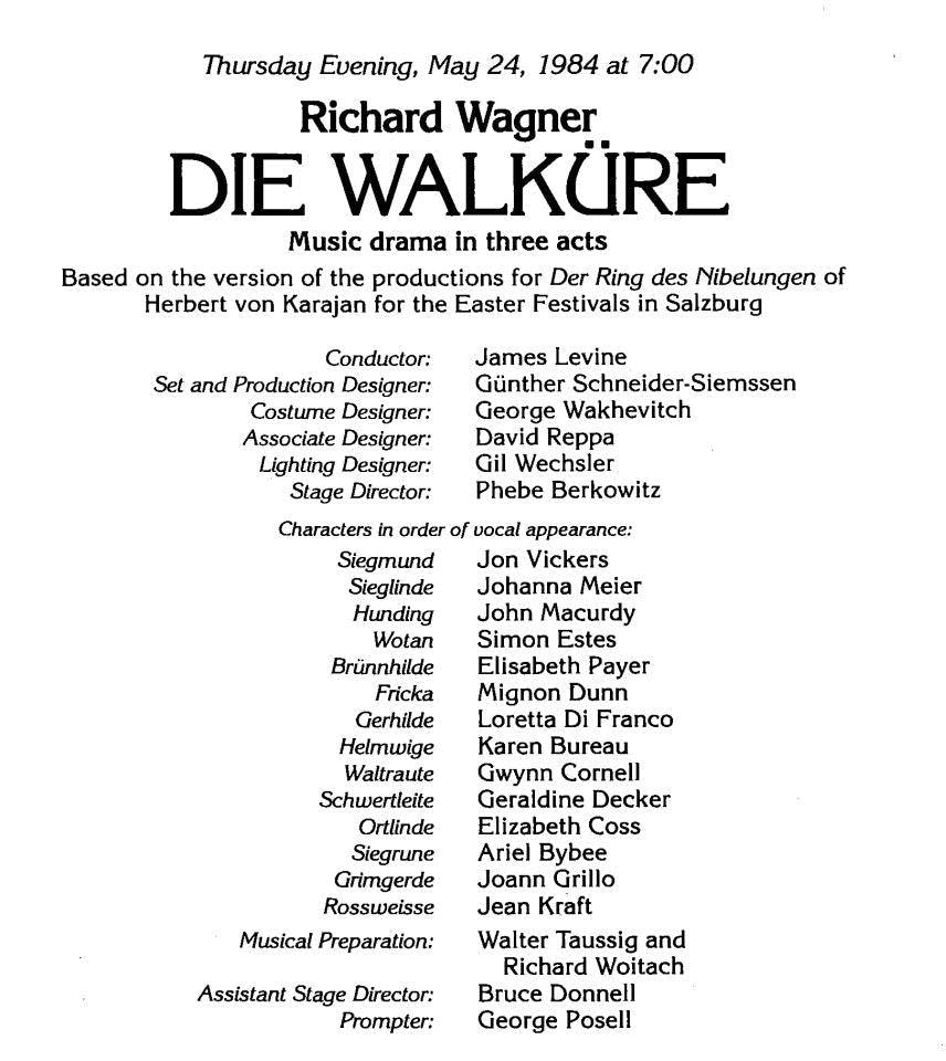 Cast page from Met Opera program book