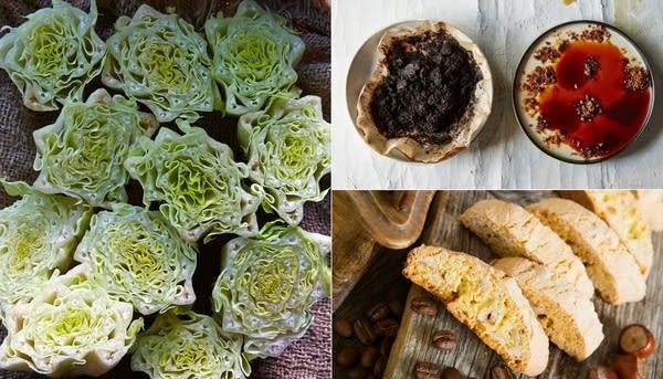 Scrap, Wilt + Weeds co-authors Mads Refslund and Tama Matsuoka Wong share their recipes for Seared Romaine Lettuce Bottoms and Coffee Grounds Panna Cotta