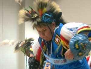 Derek Krumrey dances a traditional native dance.