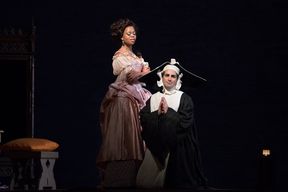 Yende as Countess Adele and Florez as Count Ory