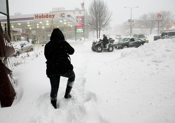 Navigating snowy sidewalks