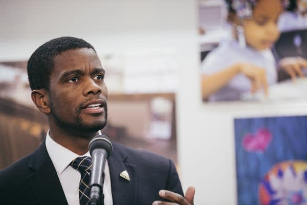 St. Paul Mayor Melvin Carter speaks at a press conference.