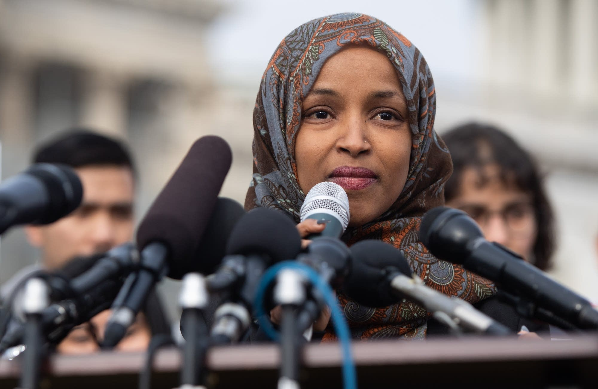 U.S. Rep. Ilhan Omar, D-Minn., speaks during a press conference.