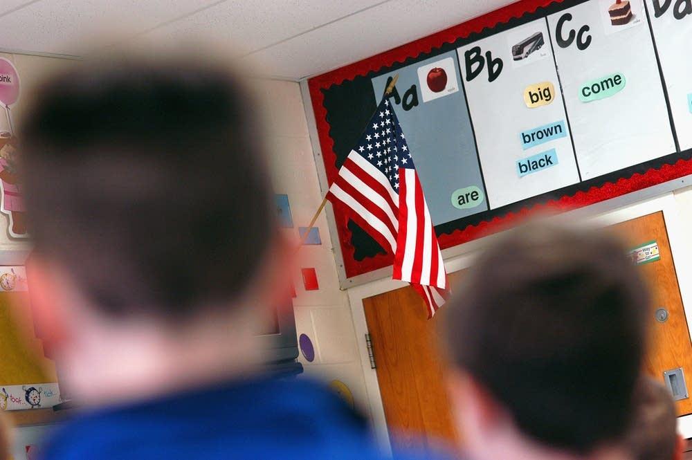 Students recite the Pledge
