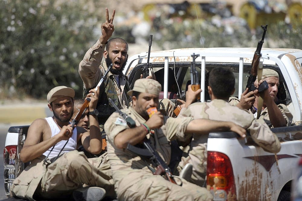 Libyan rebels outside Tripoli