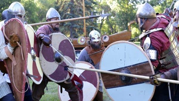 Viking re-enactors use blunt steel weapons.