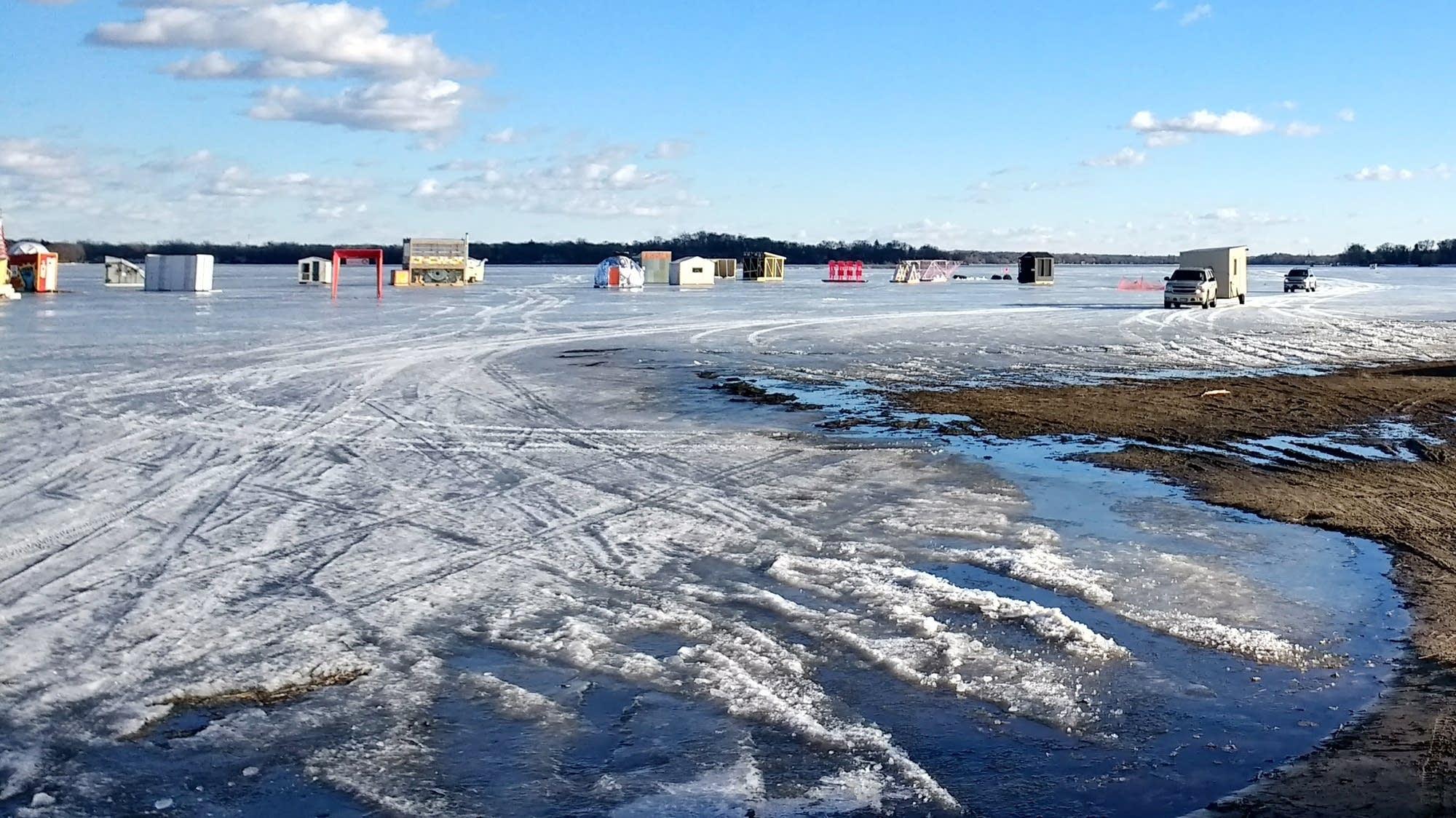 Ice houses on White Bear Lake on Feb. 14, 2017.