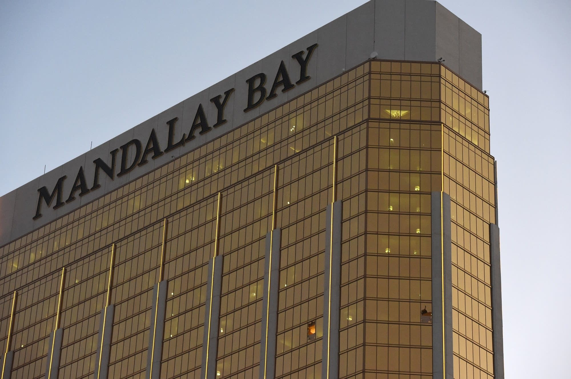 Broken windows at the Mandalay Bay Hotel and Casino.