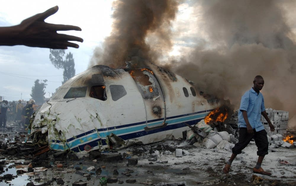 Passenger plane wreckage