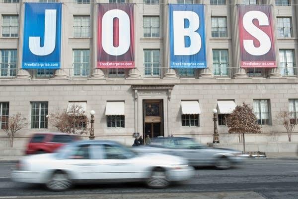 "A banner reading ""Jobs"""