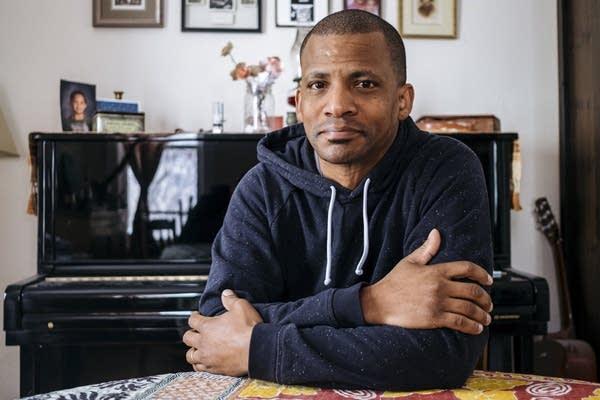 Jazz drummer and composer Davu Seru sits for a portrait.