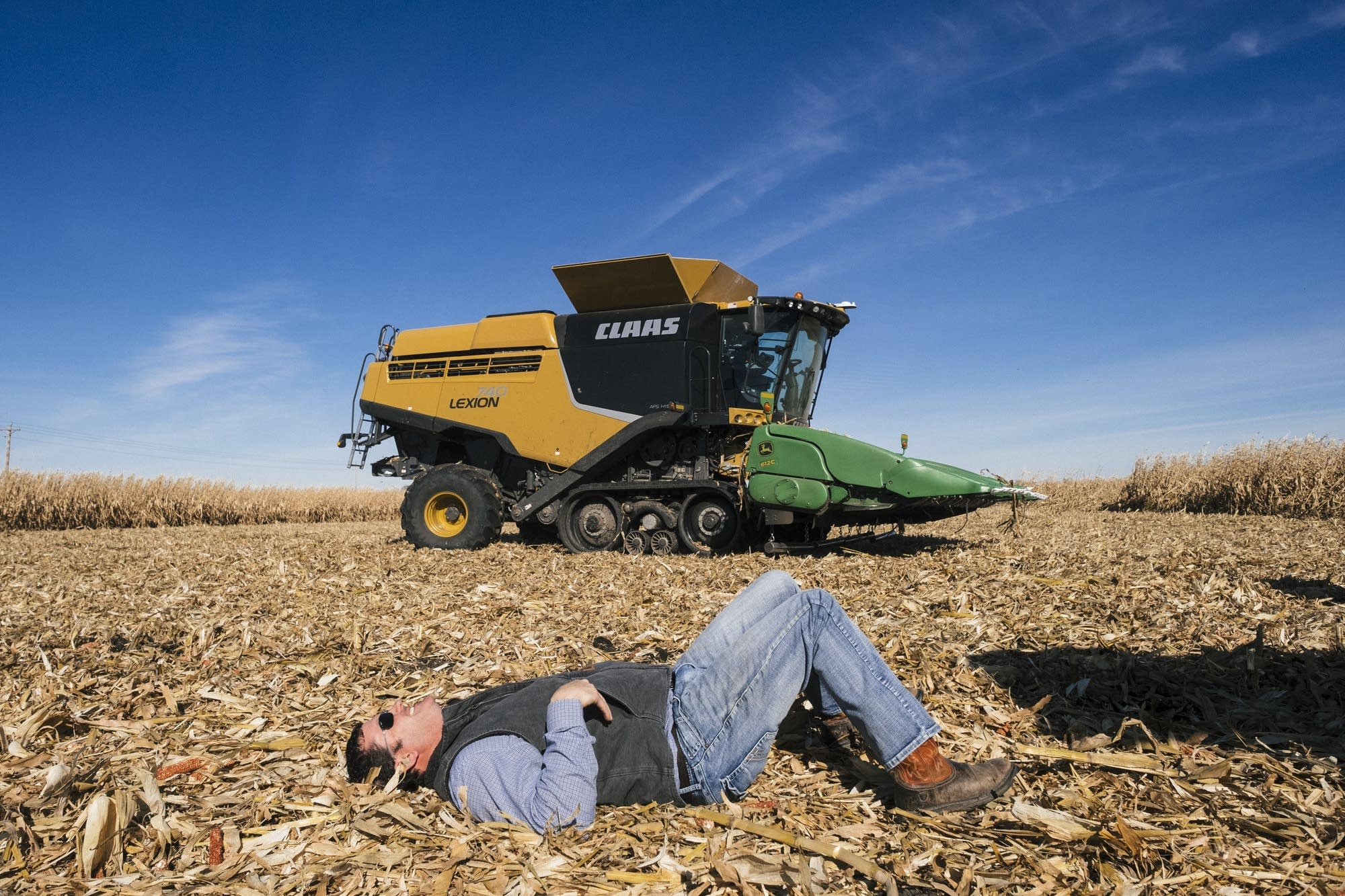 Nathan Collins takes a rest outside the combine.