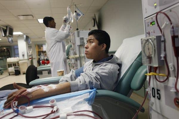 Jose Perez receives dialysis treatment in 2010.
