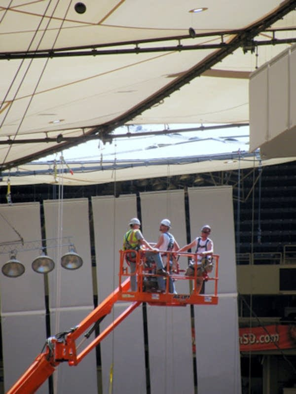 Finishing repairs on the Metrodome