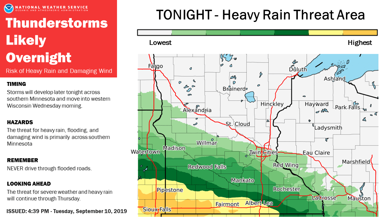 Heavy rain potential overnight