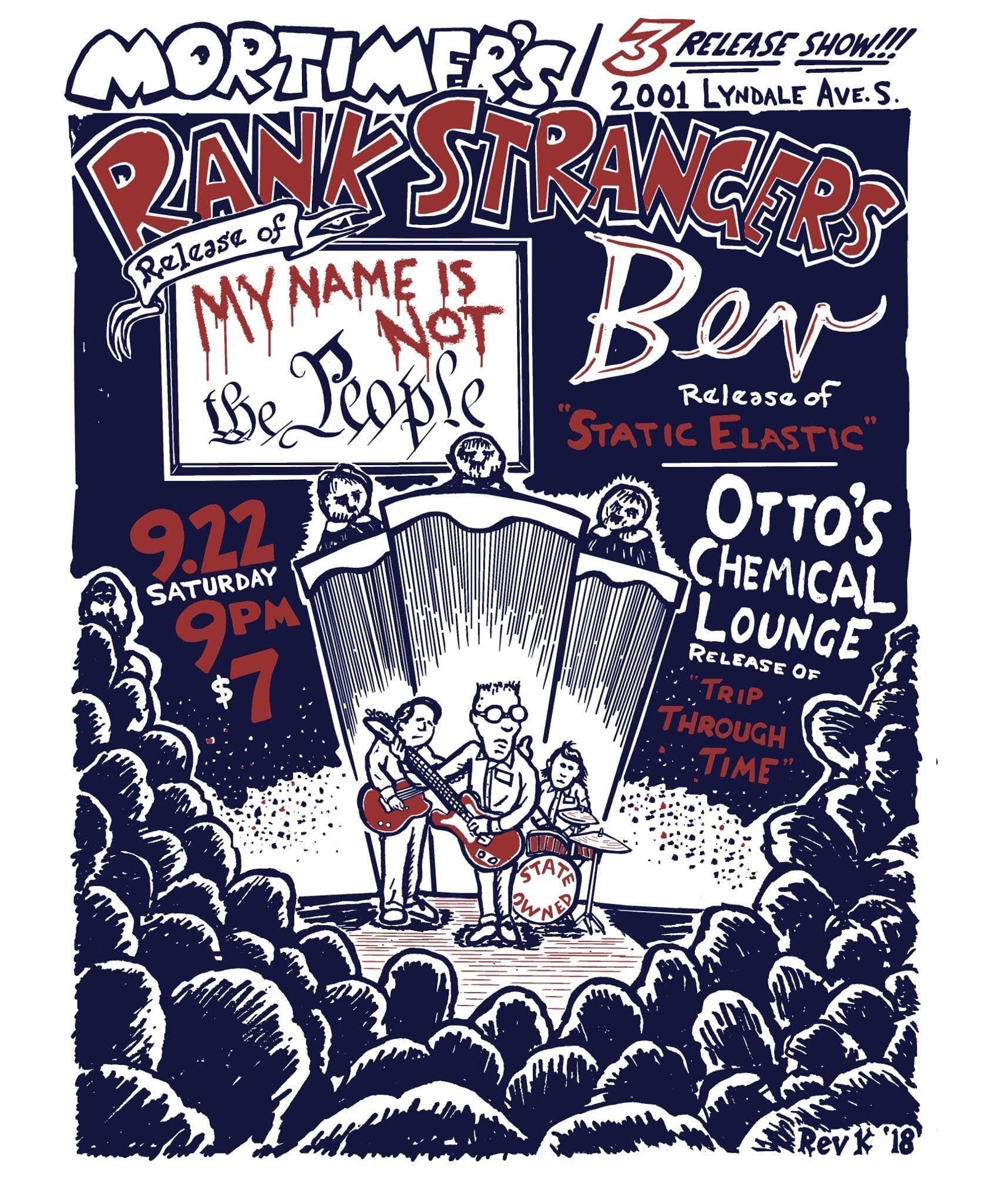 Poster for Rank Strangers/Otto's Chemical Lounge/Bev/Electric Craft