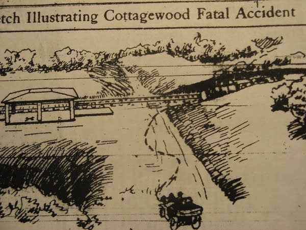 Sketch of the accident that killed the Glueks