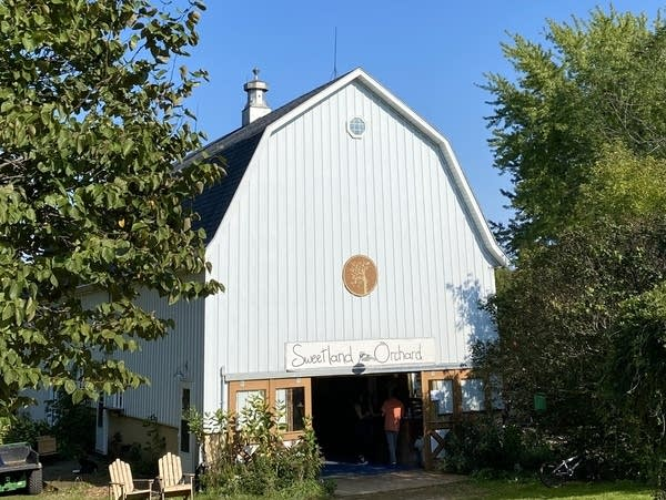 A view of a barn at Sweeland Orchard.