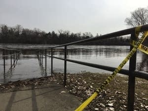 A boat ramp in north Minneapolis was closed due to flooding.