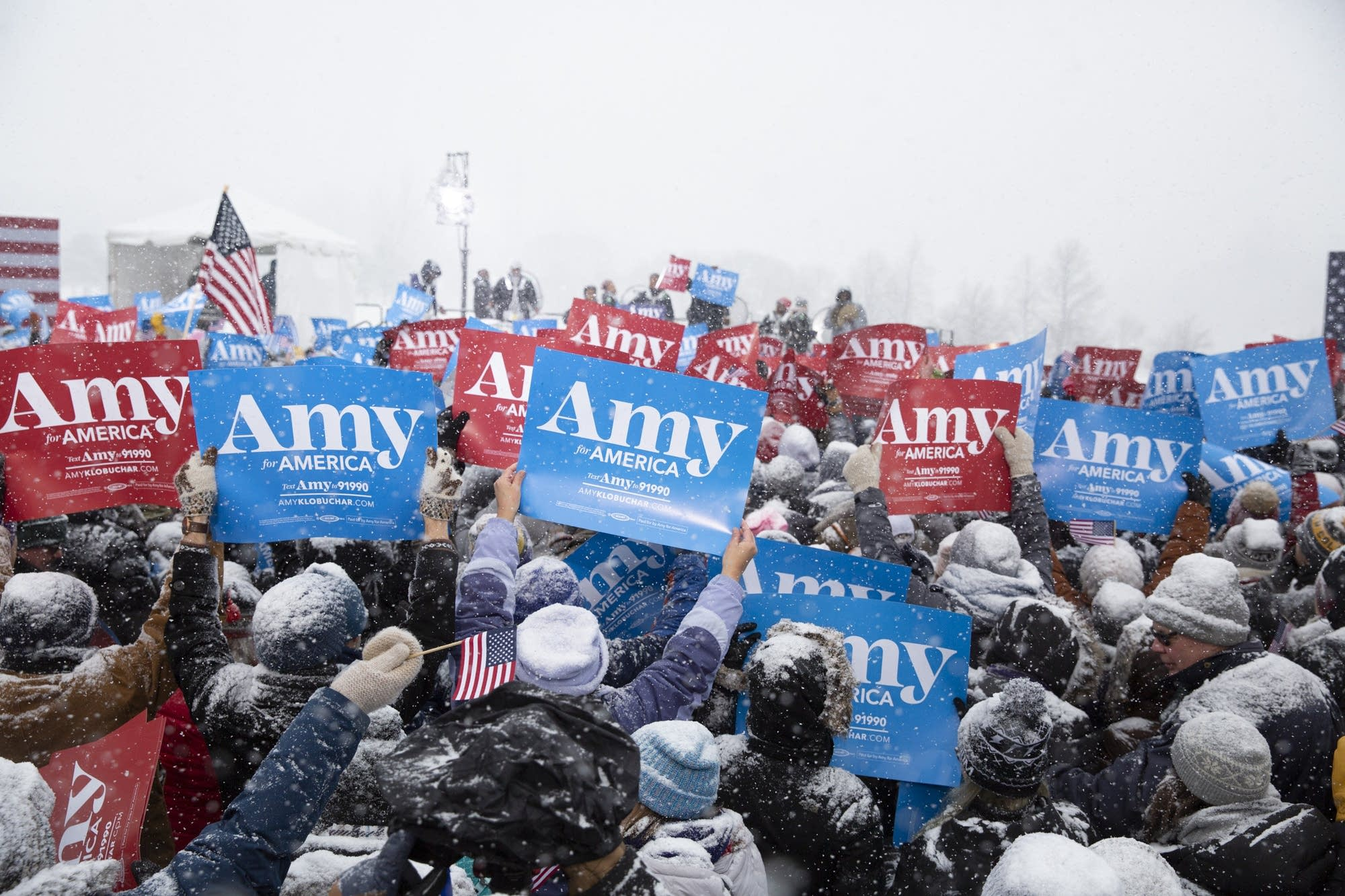 A large crowd gathers at a rally to hear U.S. Sen. Amy Klobuchar.