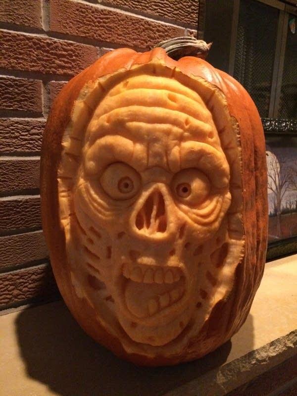 A 3D sculpted zombie pumpkin by Ryan Lisson.