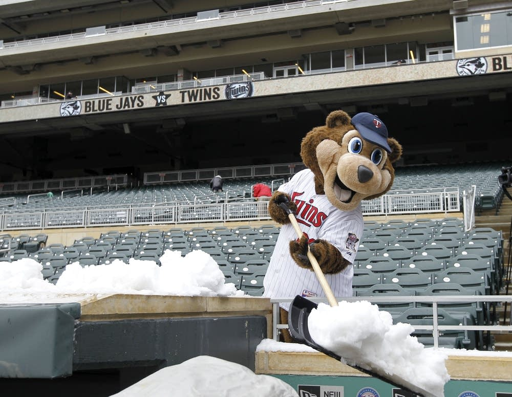 Twins mascot T.C. shovels after storm