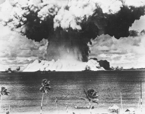 A mushroom cloud over the Bikini Lagoon in 1946