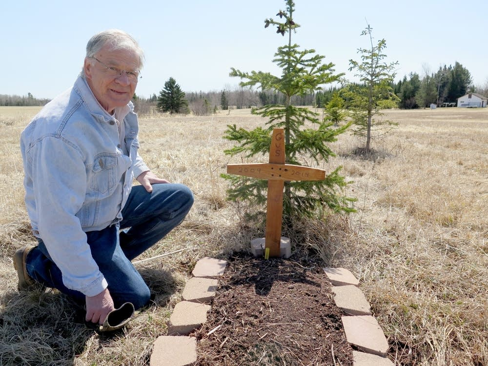 Bob VanGuilder at Gus' grave.