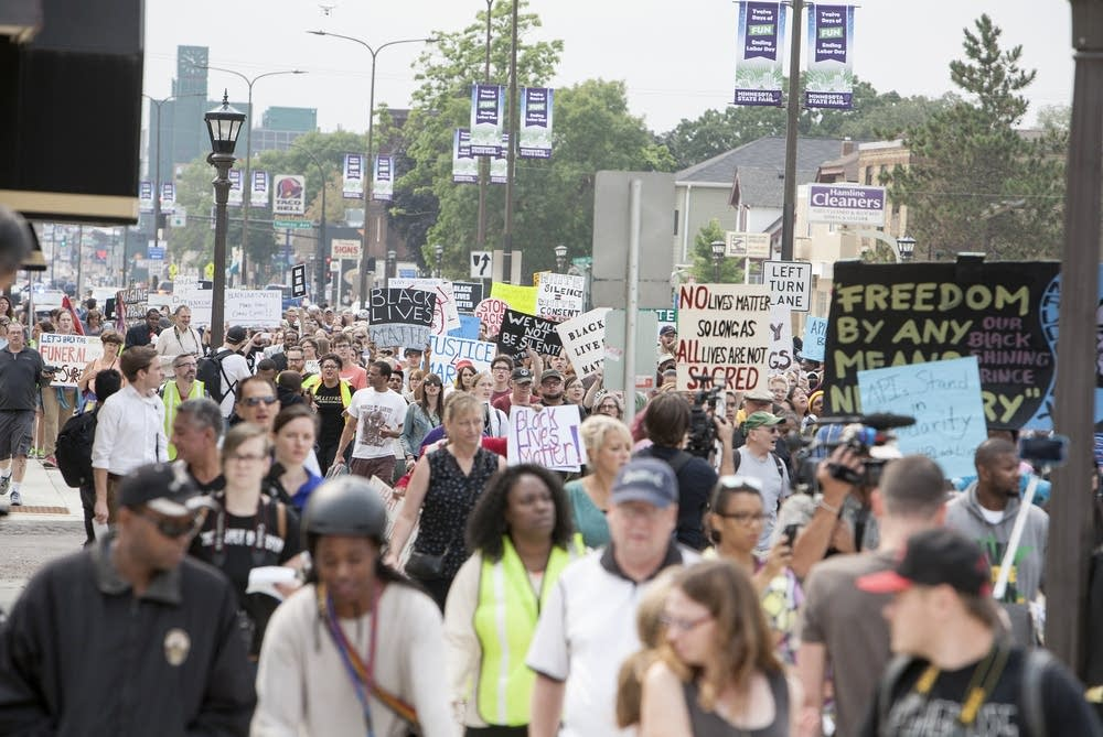 Marchers headed up Snelling to the fairgrounds.