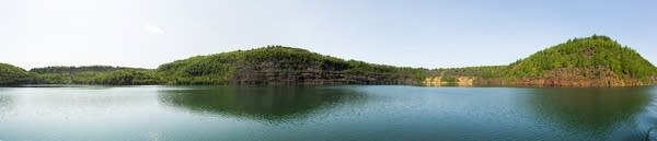 A panoramic shot of the Rouchleau mine pit