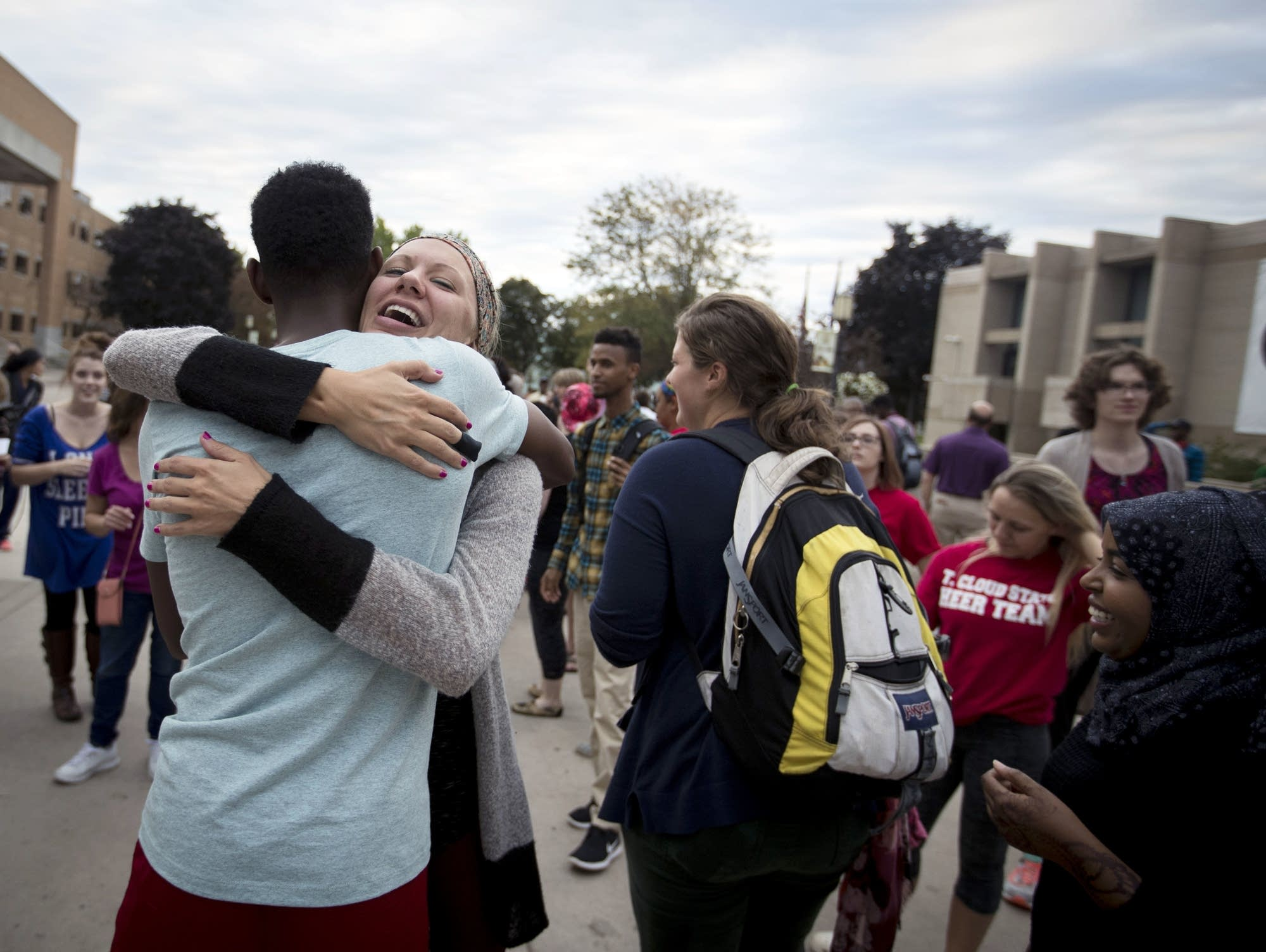 Najah Ibrahim hugs Nicole Grant