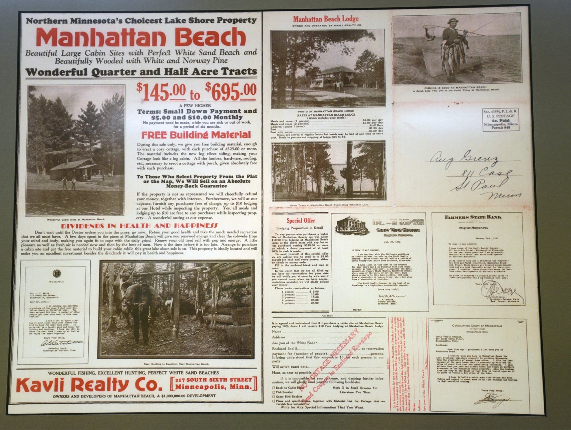 An old clipping advertising Manhattan Beach's lake shore property.
