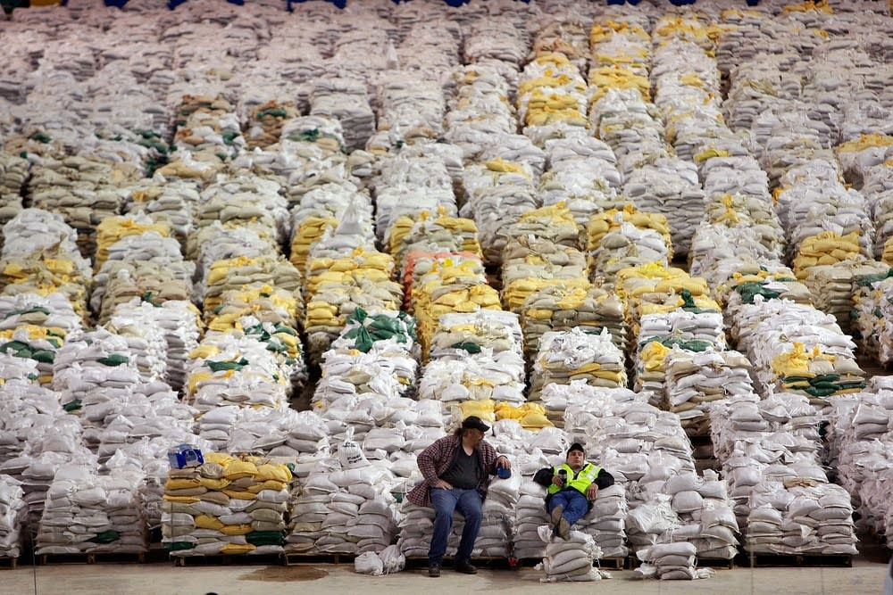 Stocking up on sandbags at the Fargodome