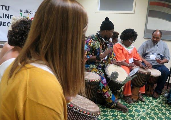 Samba Fall leads a workshop