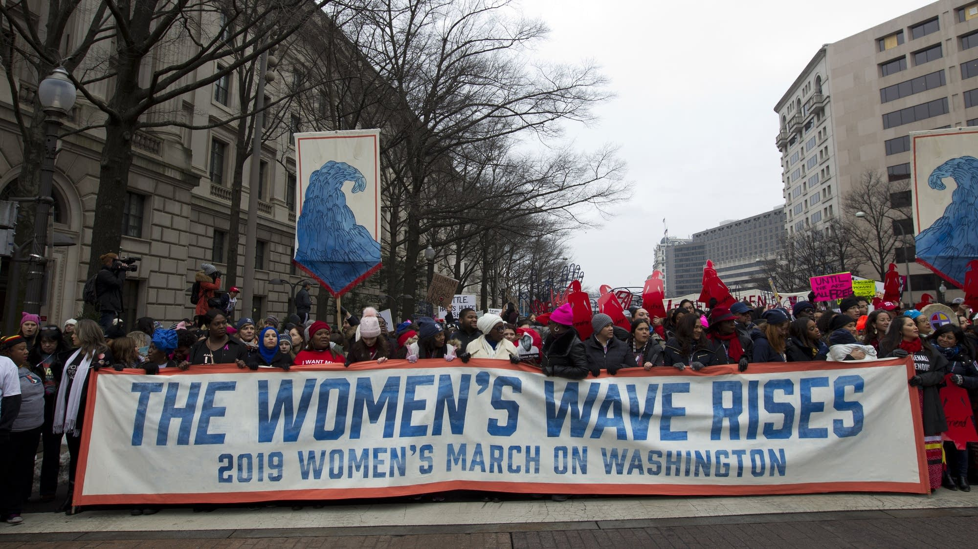 Demonstrators march during the Women's March in Washington.