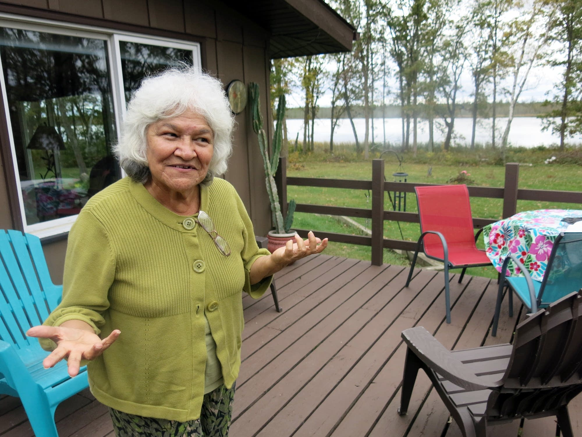 Anne Dunn at a cabin on Drewery Lake.