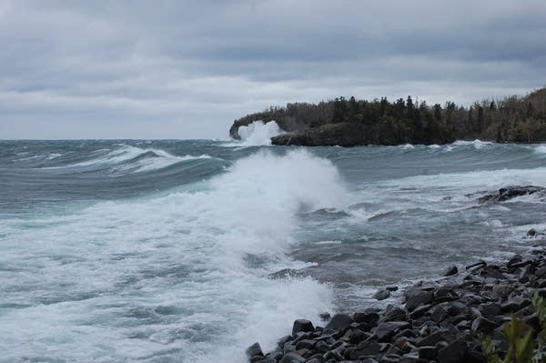 Waves hit the shore of Lake Superior