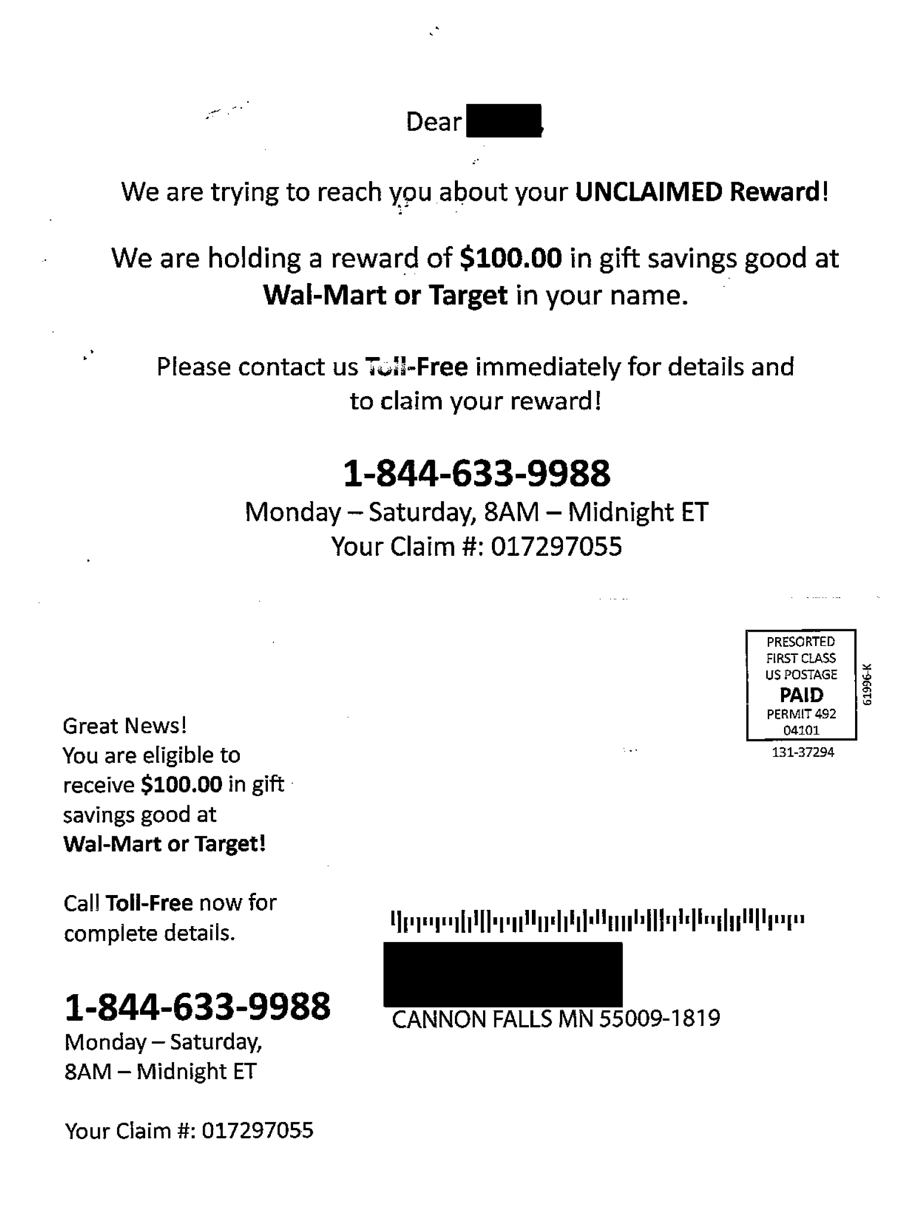 postcard scam offers walmart tar payoff