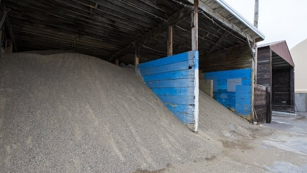 Sand is stored at MNDot's St. Cloud facility as an option to use on roads.
