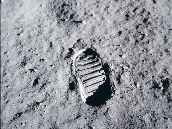 A close-up view of an astronaut's bootprint