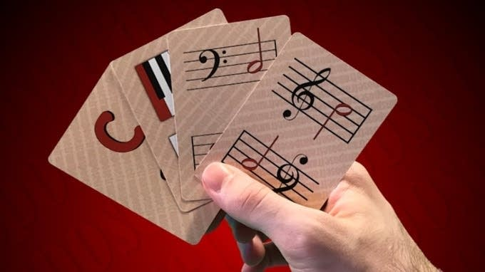 This hand shows a four-of-a-kind grouping in the card game Transpose.