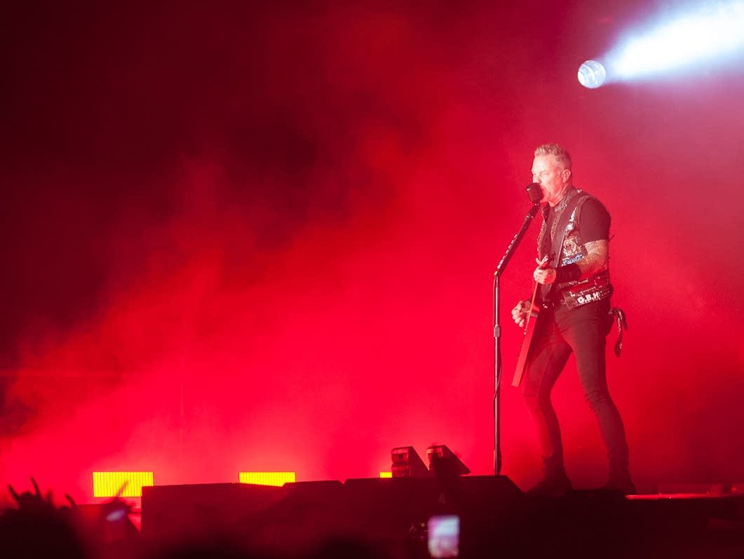 James Hetfield performs with Metallica.