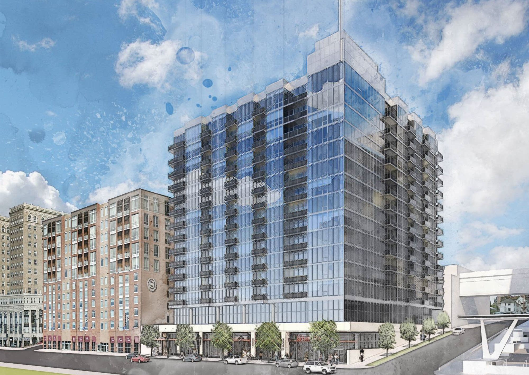 An image of the planned $75 million Lakeview apartment building