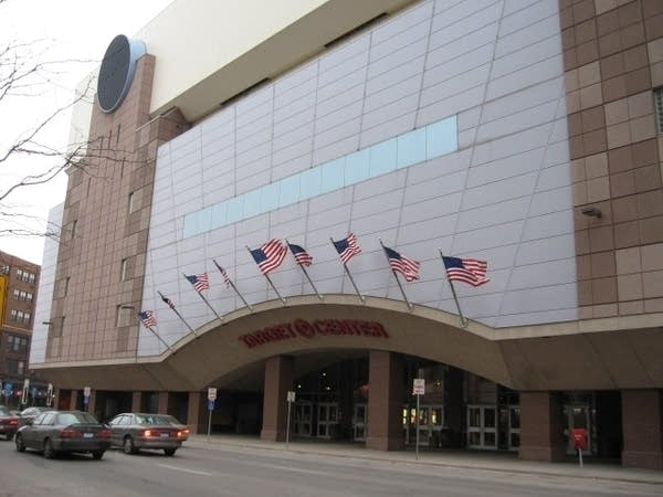 Target Center's main entrance on First Avenue